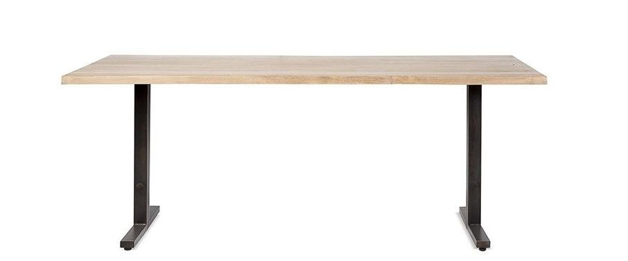 Dareels Mesa de Comedor - madera de teca y hierro- 200x90xA76cm - Dareels