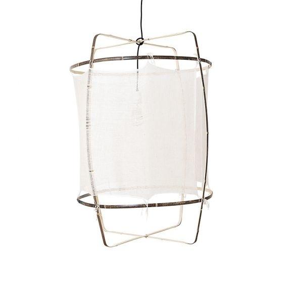 Ay Illuminate Lámpara de techo de bambú Z1 con seda y cachemira - blanca - Ø67xh100 CM  - Ay illuminate