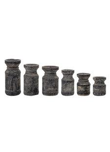 Bloomingville Conjunto de 6 candelabros de madera reciclada - negro - Bloomingville