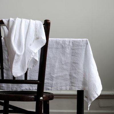 Tell Me More Mantel rectangular - 100% lino lavado a la piedra - 160x270 - blanco - Tell Me More