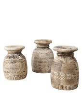 Petite Lily Interiors Maceta de madera India - Ø20/15xH22cm - Pieza Unica