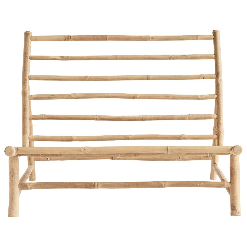 TinekHome Banco al aire libre de bambú con cojín - W100x87xH45/80cm