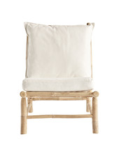 TinekHome Silla de bambú al aire libre - Natural / Blanco - W55x87xh45/80cm