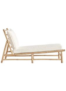 TinekHome Tumbona de bambú con cojín en blanco - 150x55xh78cm