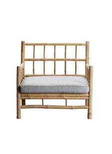 TinekHome Sillón de bambú al aire libre - Natural / gris - 70x60xH44/82cm - TinekHome