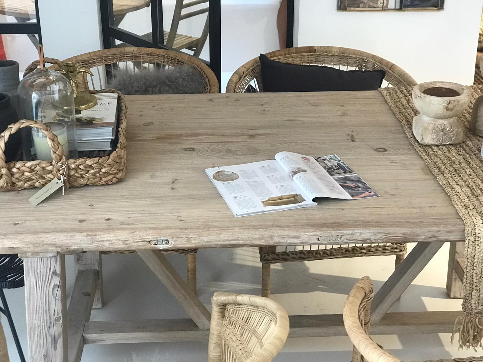 Petite Lily Interiors Mesa de Comedor madera de olmo - 200x100xh78H - Pieza única