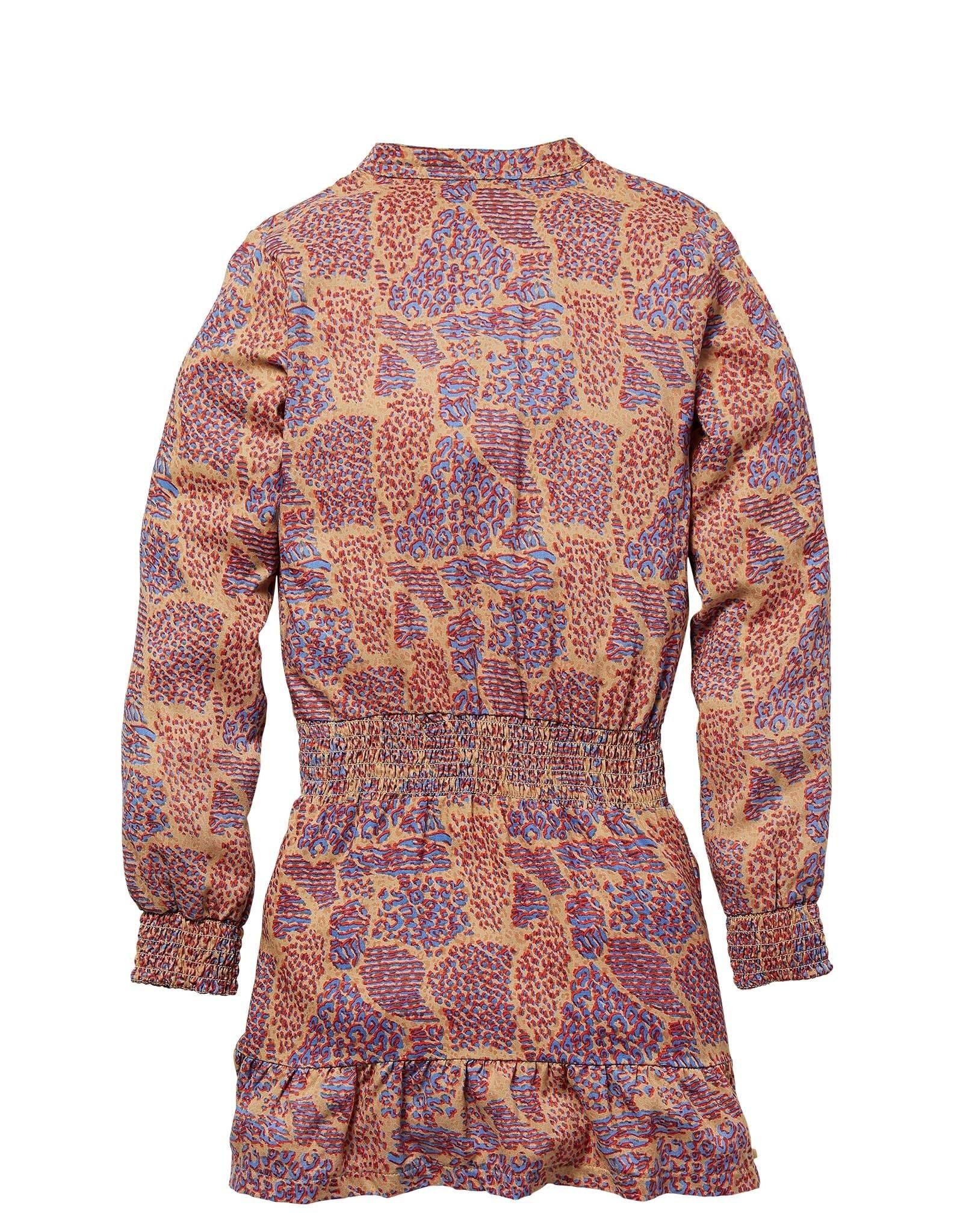 Quapi Quapi jurk KAMILA caramel animal aop