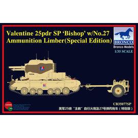 """Bronco Models Bronco Models - Valentine 25pdr SP """"Bishop"""" w/No.27 Ammunition Limber - 1:35"""