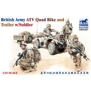 Bronco Models British Army ATV Quad Bike and Trailer w/Soldier - 1:35