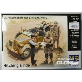 Master Box MB - Hitching a ride - US Paratroopers and Civilian - 1:35