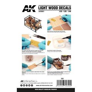 AK Interactive Light Wood Decals - Holz-Imitat-Nassschiebebilder