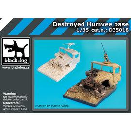 black dog Black Dog - Destroyed Humvee Base - Vignette mit zerstörtem Humvee - 1:35