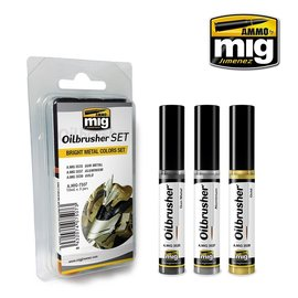 """AMMO by MIG AMMO - Oilbrusher Set """"Bright Metal Colors"""""""