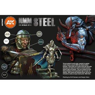 "AK Interactive 3rd Gen. Acryl. Set ""Non metallic metal - steel"""