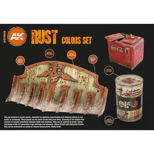 """AK Interactive 3rd Gen. Acryl. Set """"Rust and abandoned"""""""