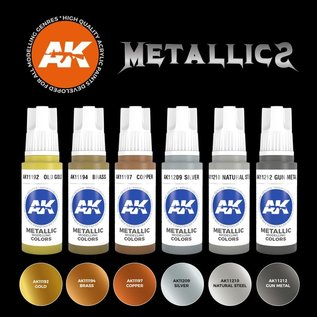 "AK Interactive 3rd Gen. Acryl. Set ""Metallics Colors"""
