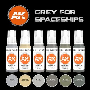 "AK Interactive 3rd Gen. Acryl. Set ""Grey for Spaceships"""