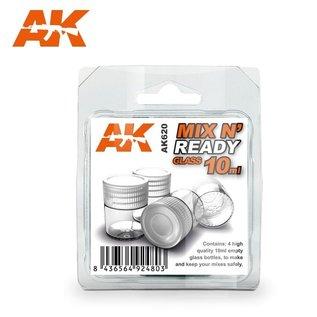 AK Interactive Mischgläser 10ml mit Deckel (4 Stck.)