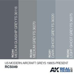 AK Interactive Real Color Set - US Modern Aircraft Greys 1980S-Present