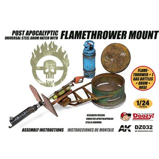 AK Interactive Post Apocalyptic Universal Steel Drum Hatch With Flamethrower Mount - 1:24