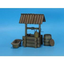 EUREKA XXL Eureka - Wooden water well w/wooden bucket, barrel & manger - 1:35