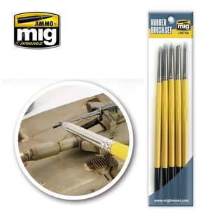 AMMO Rubber Brush Set / Gummi-Pinsel f. Details, Pigmente & Modellierarbeiten