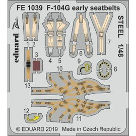 Eduard Eduard - PE-Set Gurtzeug F-104G Starfighter (early) f. Kinetic - 1:48