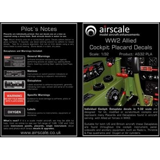 Airscale WWII Allied Cockpit Placards - 1:32