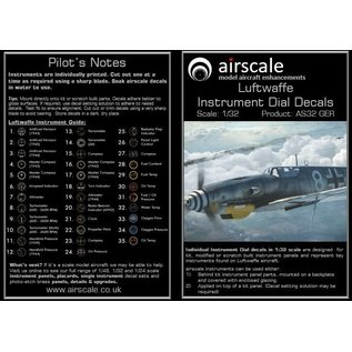 Airscale WWII Luftwaffe Instrument Dial Decals - 1:32