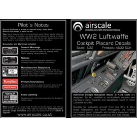 Airscale Airscale - WWII Luftwaffe Cockpit Placards - 1:32