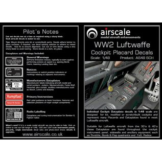 Airscale WWII Luftwaffe Cockpit Placards - 1:48