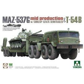 TAKOM TAKOM - MAZ-537G  w/ChMZAP-5247G  Semi-trailer mid production & T-54B - 1:72