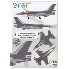 """Syh@rt Decals Syhart Decals - F-16AM Falcon FA-131 """"Solo Display 2007-2008"""" Belgian Air Force - 1:72"""