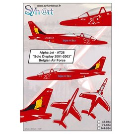 """Syh@rt Decals Syhart Decals - Alpha Jet AT26 """"Solo Display 2001-2003"""" Belgian Air Force - 1:72"""
