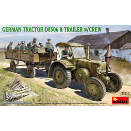 MiniArt MiniArt - German Tractor D8506 & Trailer w/Crew - 1:35