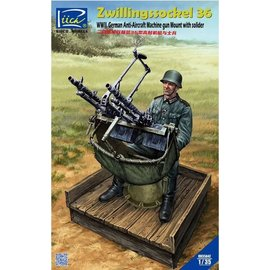 Riich.Models Riich.Model - Zwillingssockel 36 Anti-Aircraft MG Mount w/Soldier (include PE & Decals) - 1:35