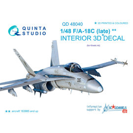 Quinta Studio Quinta Studio - F/A-18С (late) 3D-Printed & coloured Interior on decal paper (for Kinetic) - 1:48