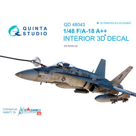 Quinta Studio Quinta Studio - F/A-18A++ 3D-Printed & coloured Interior on decal paper (for Kinetic) - 1:48