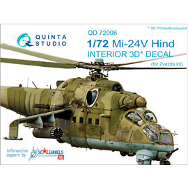 Quinta Studio Quinta Studio - Mi-24V 3D-Printed & coloured Interior on decal paper (for Zvezda kit) - 1:72