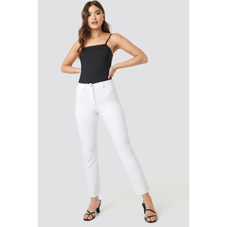 Lily Fashion RAW HEM STRAIGHT JEANS 1018-002570 | white