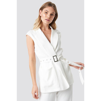 Lily Fashion 1100-001244 BELTED VEST   white