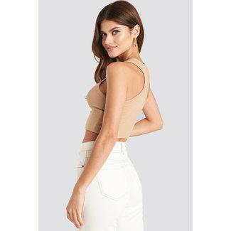 Lily Fashion CROPPED RIB TOP 1018-003564 | light beige