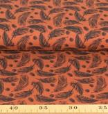 100x150 cm Baumwolljersey Federn rotbraun