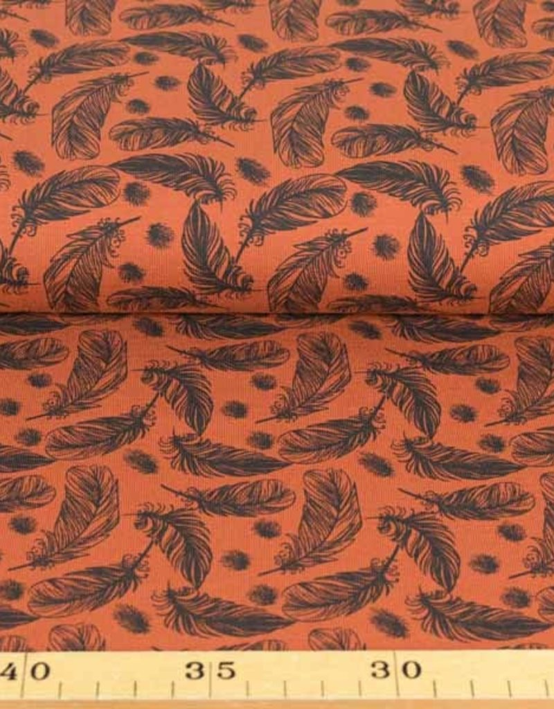 100x150 cm cotton jersey feathers brick