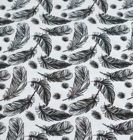 100x150 cm cotton jersey feathers offwhite