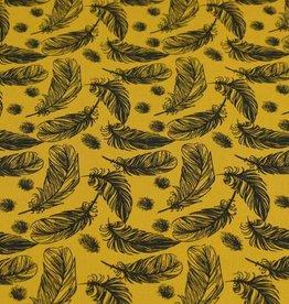 100x150 cm cotton jersey feathers ocher