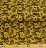 100x150 cm katoen tricot veertjes okergeel