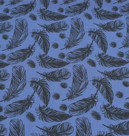 100x150 cm cotton jersey feathers steel blue