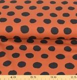 100x150 cm Baumwolljersey Punkte rotbraun