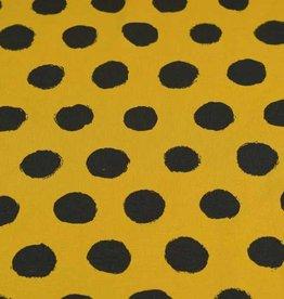 100x150 cm Baumwolljersey Punkte ocker